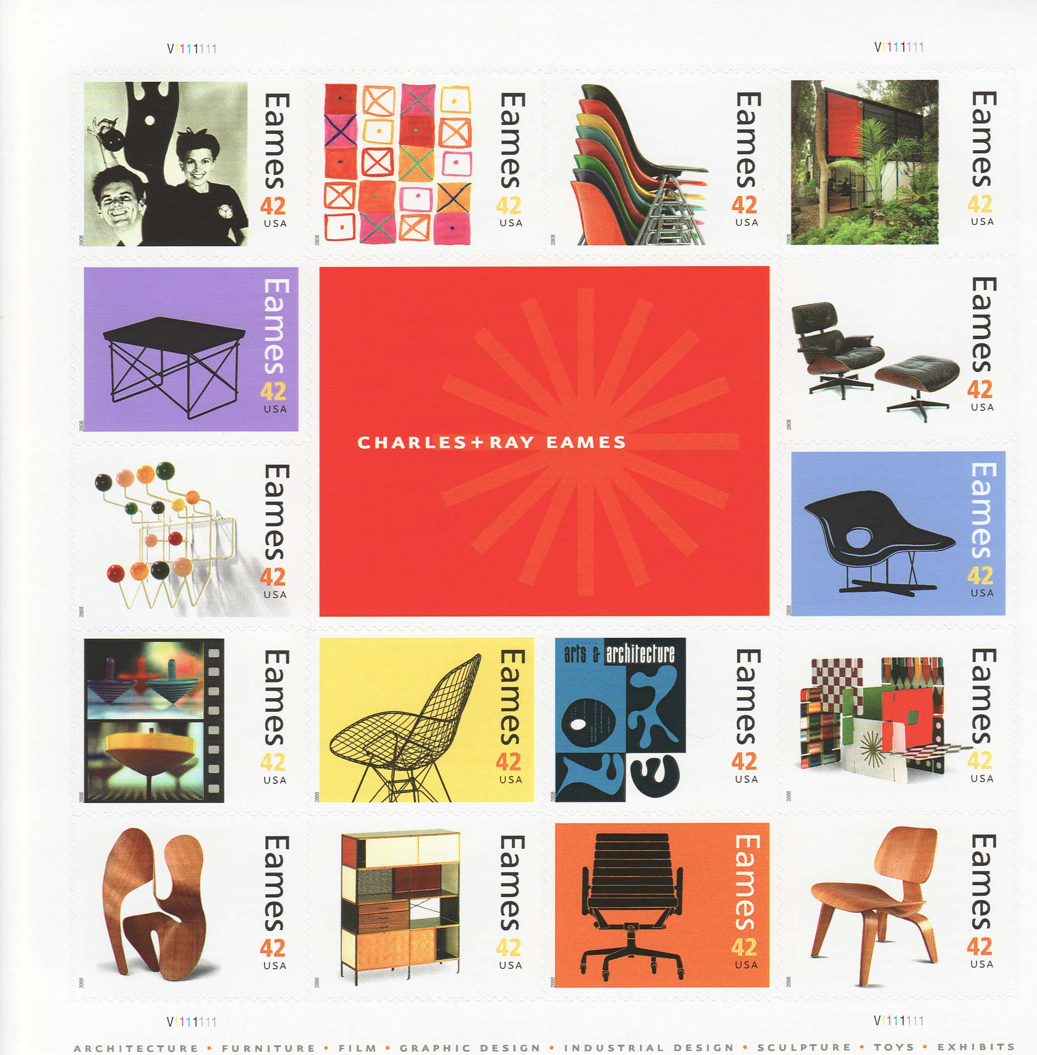 Charles & Ray Eames stamp sheet -- Art, #4333