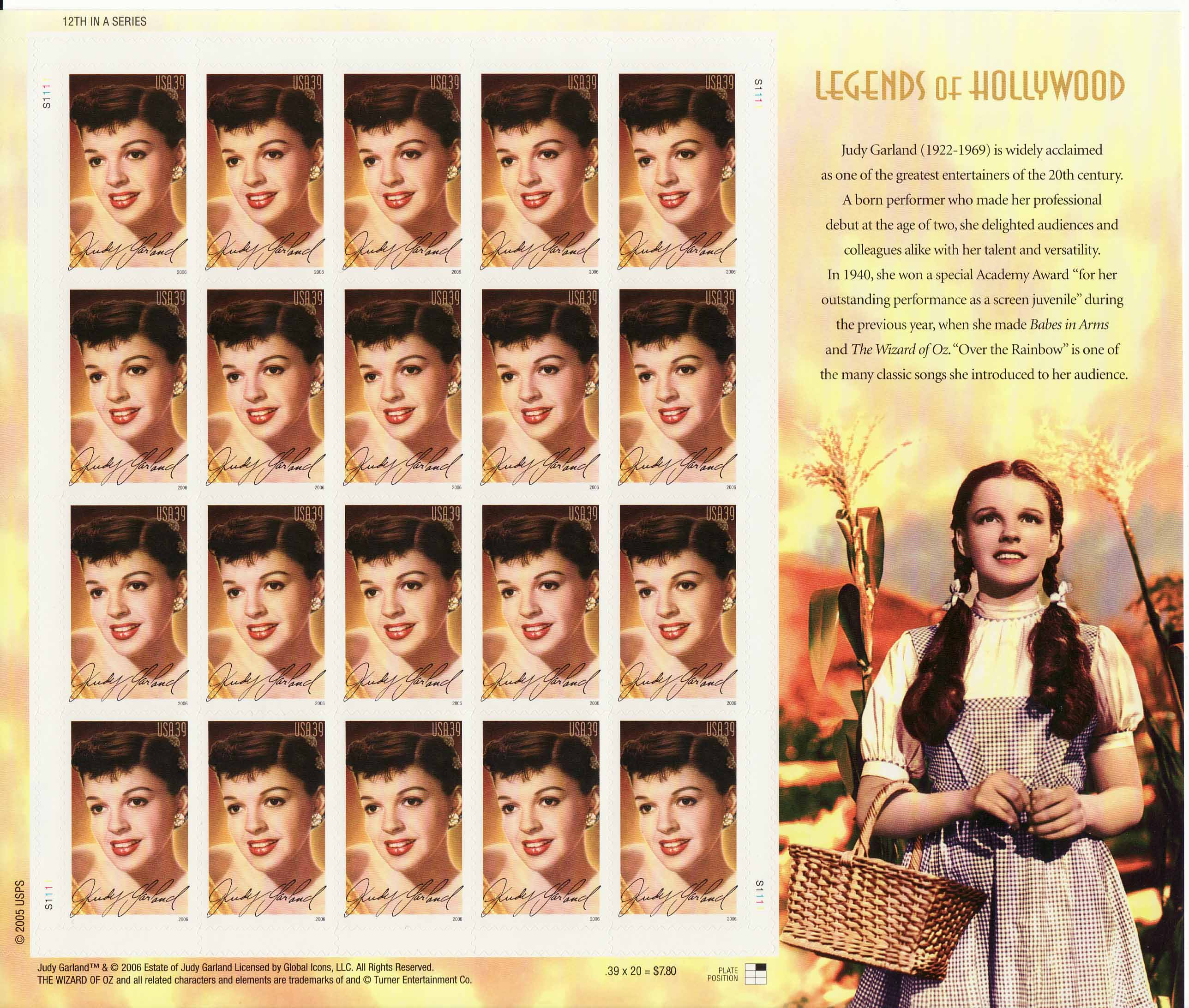 Judy Garland stamp sheet -- Legends of Hollywood