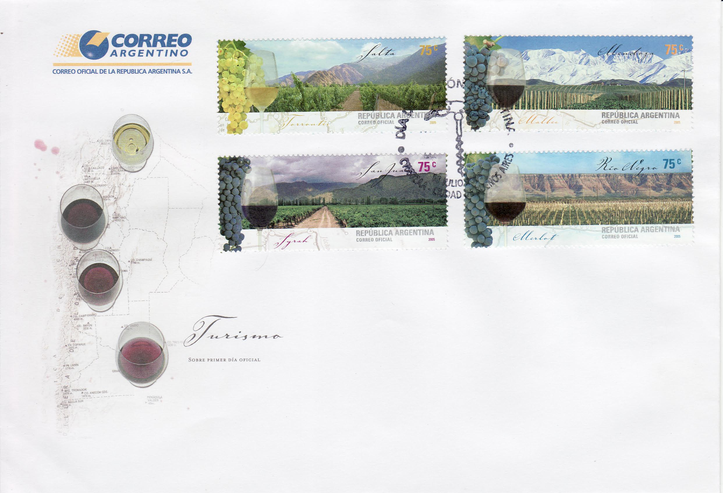 Argentina  Wine Cork FDC block of four